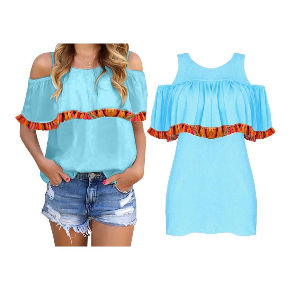 niebieska bluzka w stylu hiszpanki